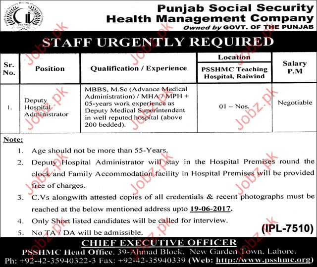 Punjab Social Security Health Management Company PSSHMC Job