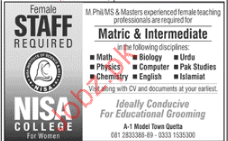 Female Staff jobs in NIsa College
