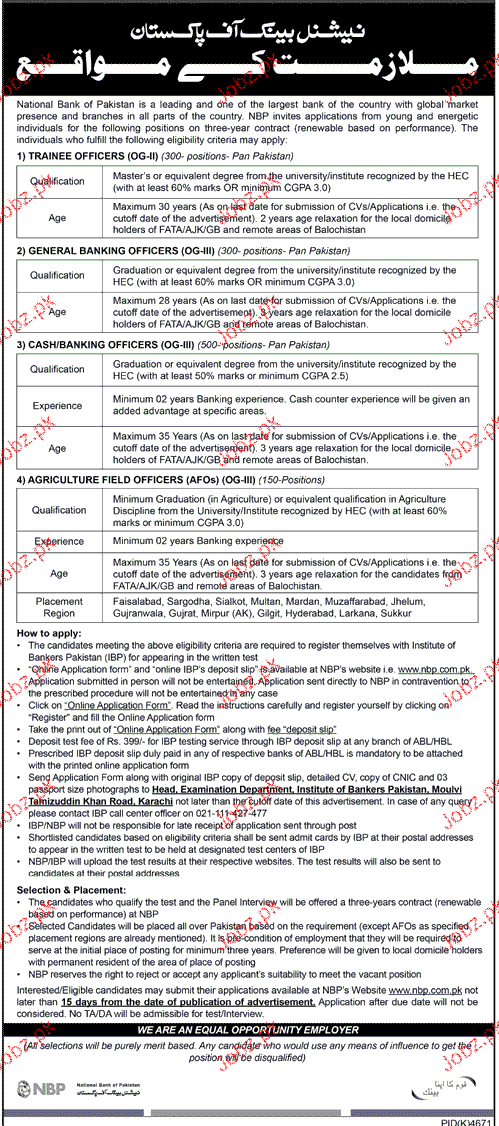 National Bank of Pakistan NBP Career Opportunity
