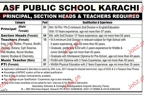 ASF Public School Karachi Teaching Jobs