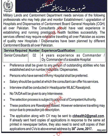 Military Lands and Cantonment Department Jobs Open