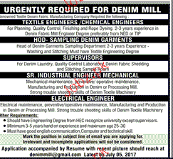 Textile Engineers, Chemical Engineers Job Opportunity