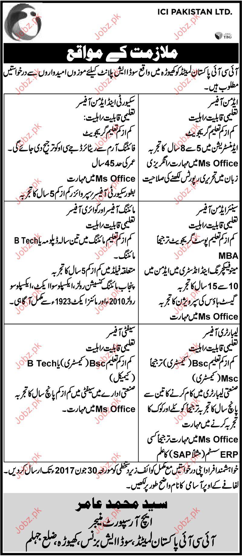 ICI Pakistan Ltd Job Opportunities