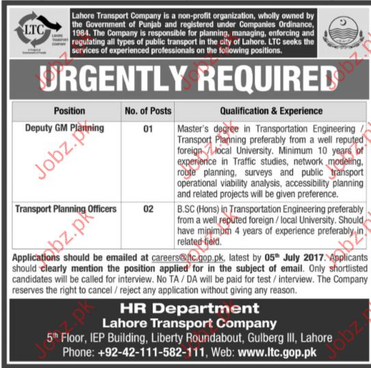 Deputy GM Planning Jobs In Lahore Transpotr Company