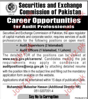 Securities & Exchange Commission Of Pakistan jobs 2017
