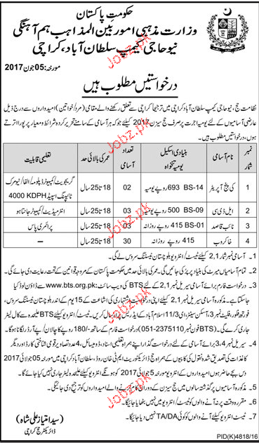 Ministry of Religious Affairs Position Vacant BTS JObs