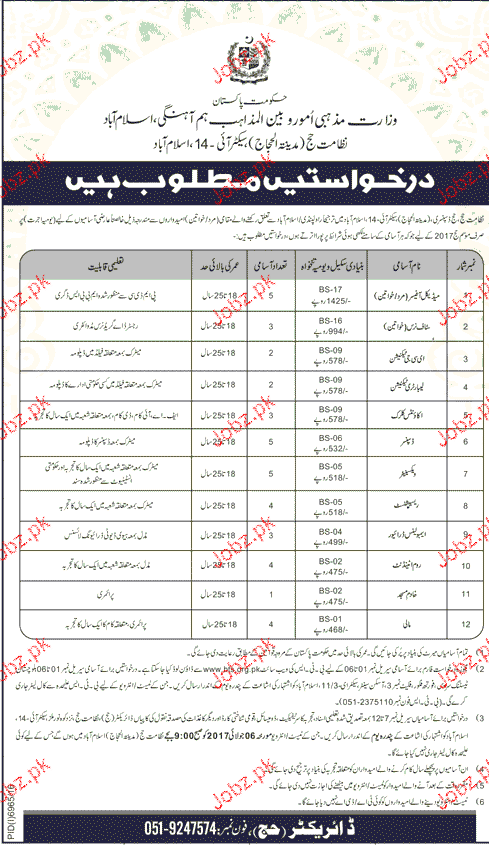Ministry of Religious Affairs Position Open  BTS Jobs