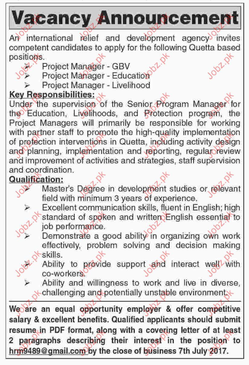 Project Manager Jobs In International Relief & Development