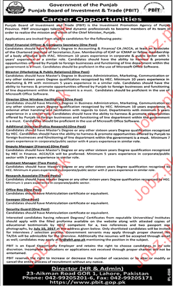 Punjab Board Of Investment & Trade Jobs 2017