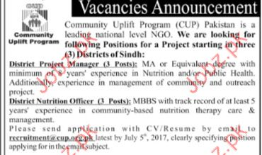Project Manager Jobs Community Uplift Programe CUP Pakistan