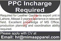 PPC Incharge Job Opportunity