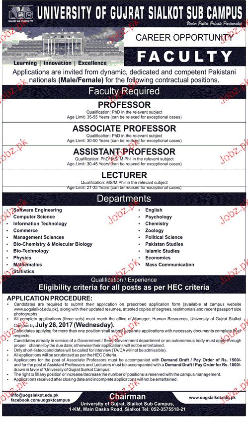 University of Gujrat UOG Teaching Jobs