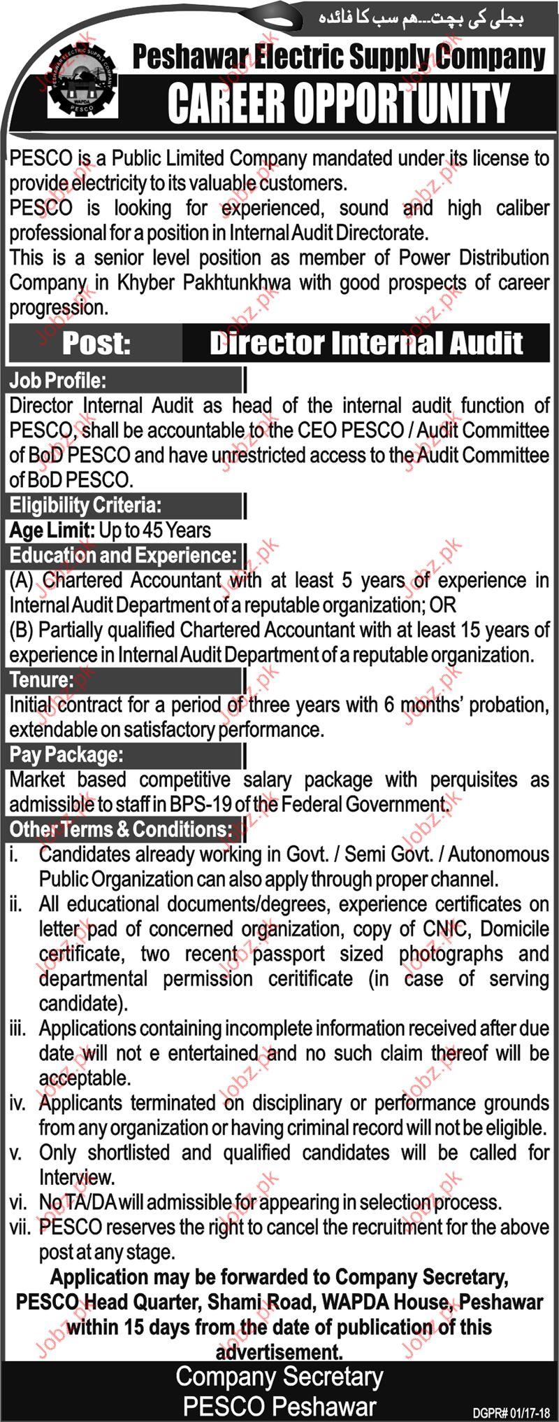 Peshawar Electric Supply Company PESCO Jobs
