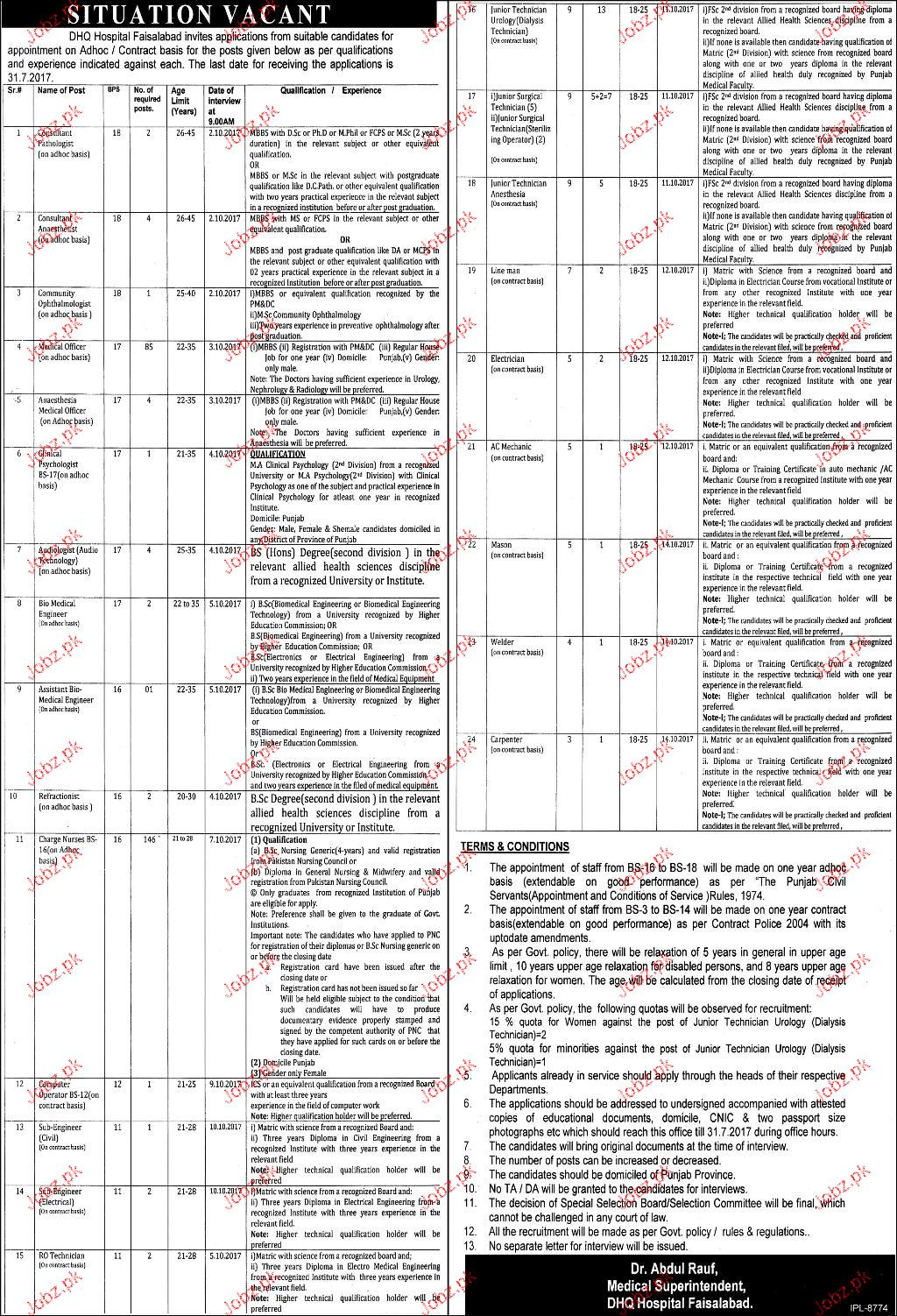 District Headquarter Hospital Faisalabad Job Open