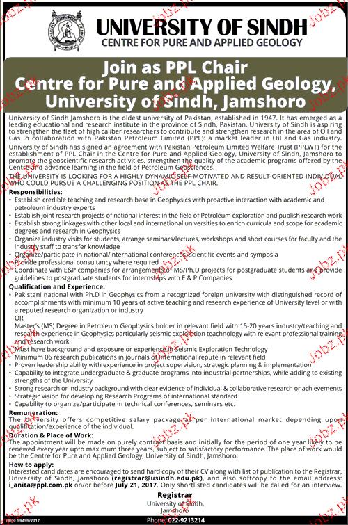 University of Sindh Jobs Open