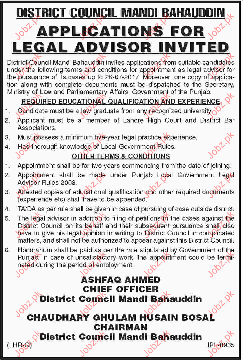 Legal Advisor Jobs in District Council