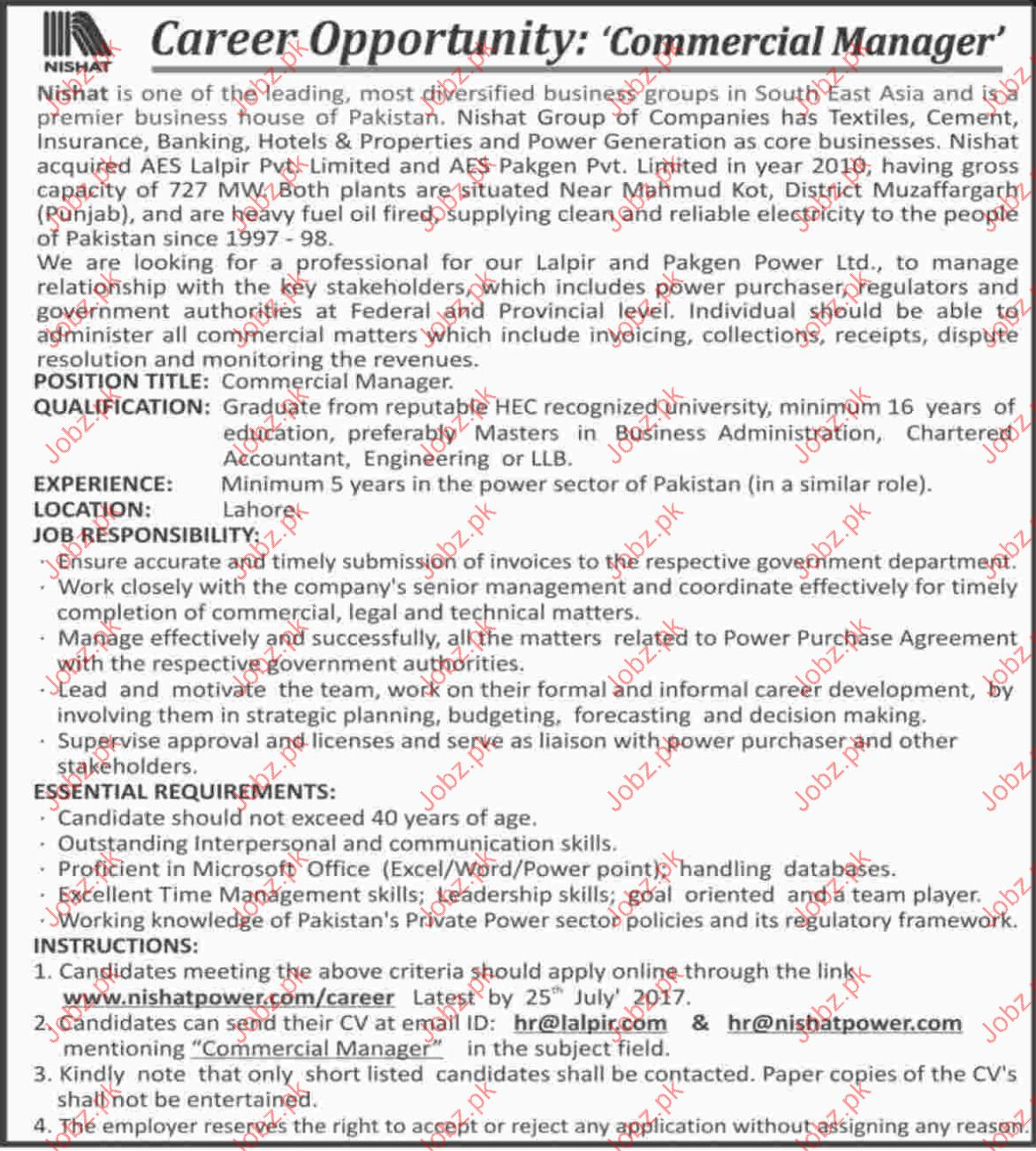 Commercial manager Required In Nishat Group Of Companies