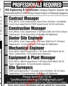 Contract Managers, Construction Managers Job Opportunity