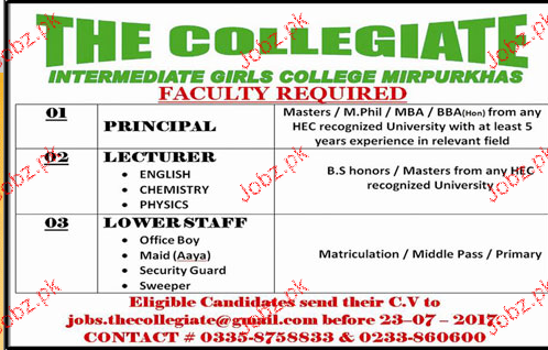 Principal, Lecturers, Office Boys Job Opportunity