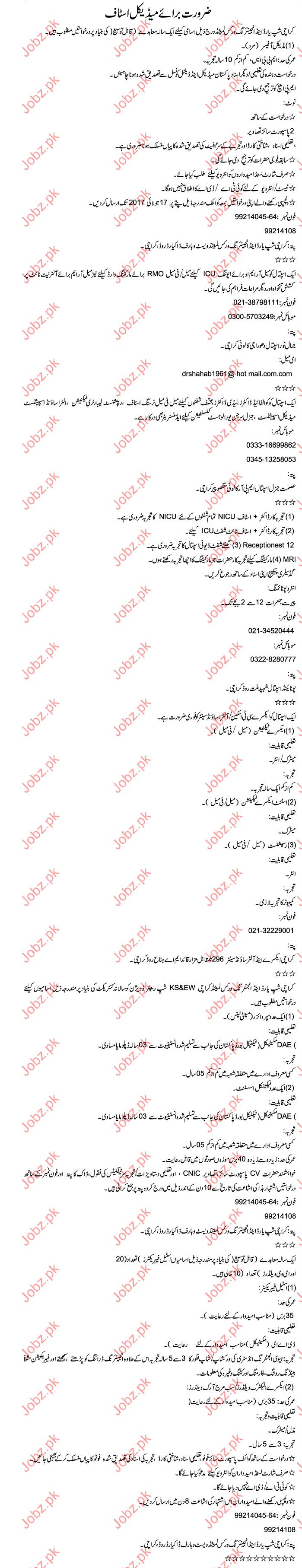 Medical Staff Jobs In Karachi Shipyard & Engineering Works