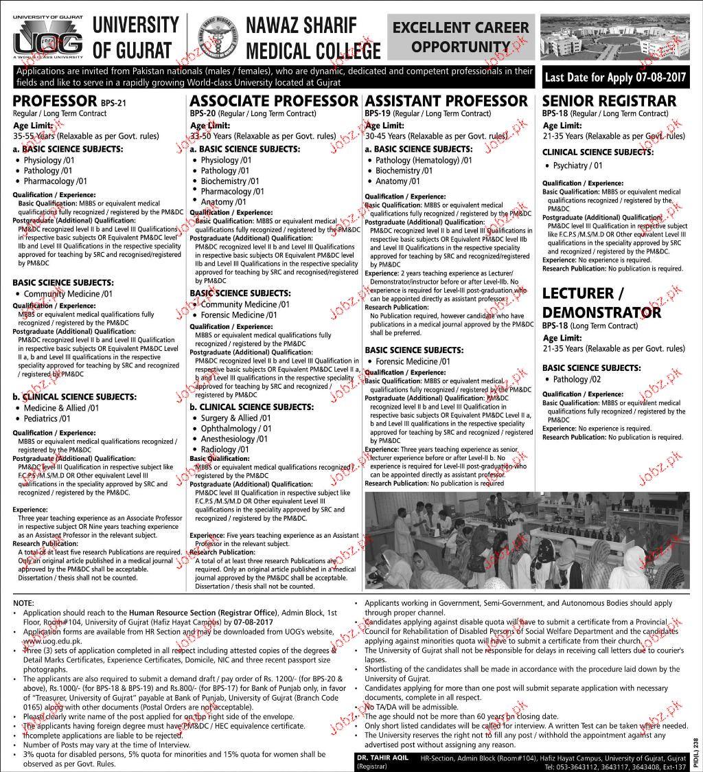 University of Gujrat UOG Teaching Position Vacant