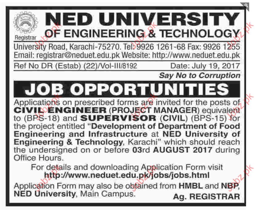 Ned University of Engineering & Technoloy Karachi Jobs