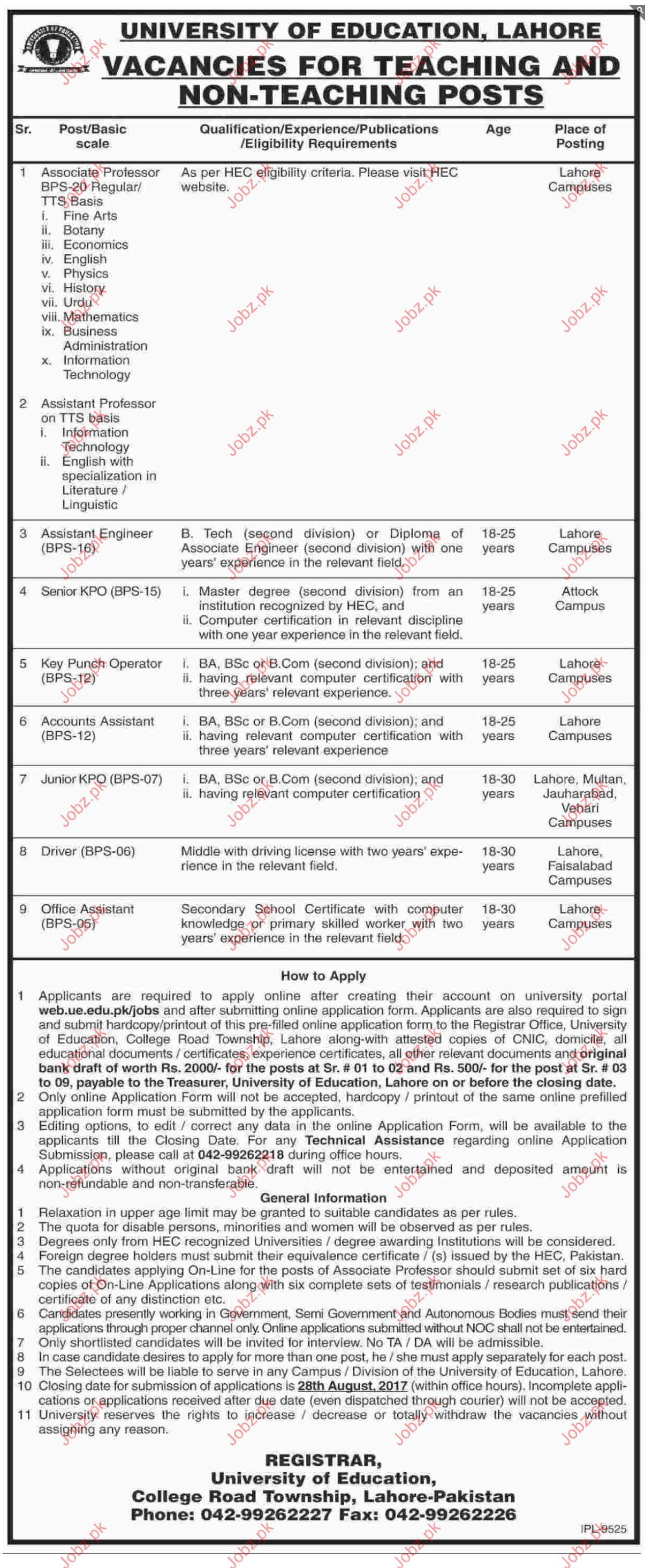 University Of Education, Lahore Jobs