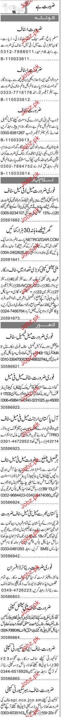 Sales Officers, Area Managers, Data Entry Operators Wanted