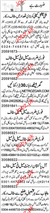 Sales Managers, Data Entry Operators Job Opportunity