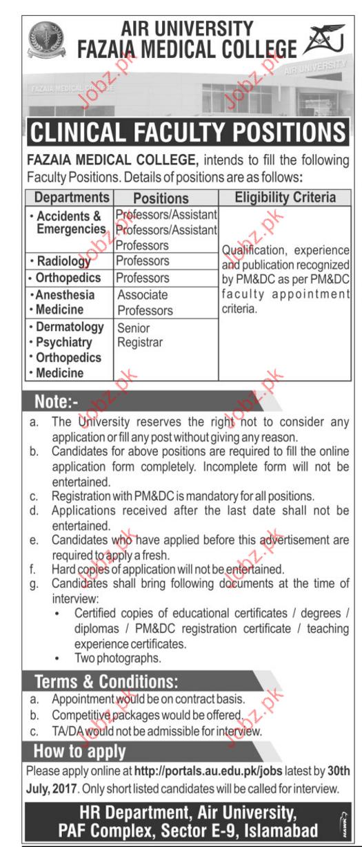 Professors Jobs In Air University  Fazaia Medical College