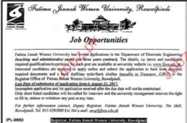 Fatima Jinnah Women University Required Administration Staff