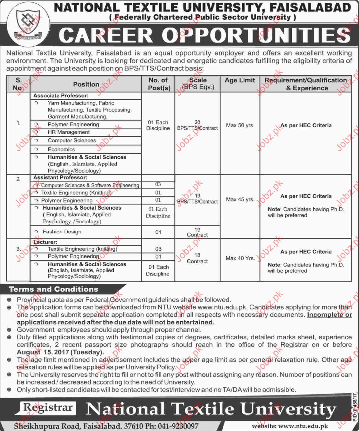 National Textile University NTU Faisalabad Jobs 2017