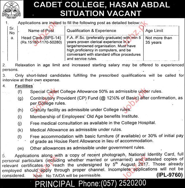 Cadet College Hassan Abdal Required Head Clerk