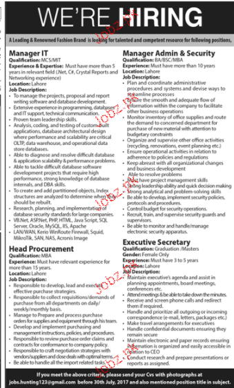 Manager IT, Manager Admin & Security Job Opportunity