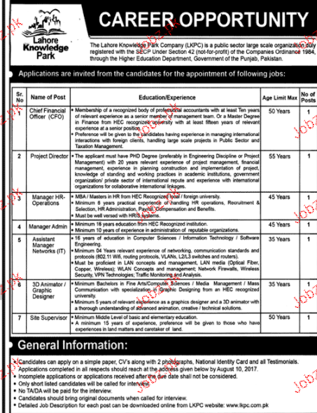 Lahore Knowledge Park Company LKPC Jobs