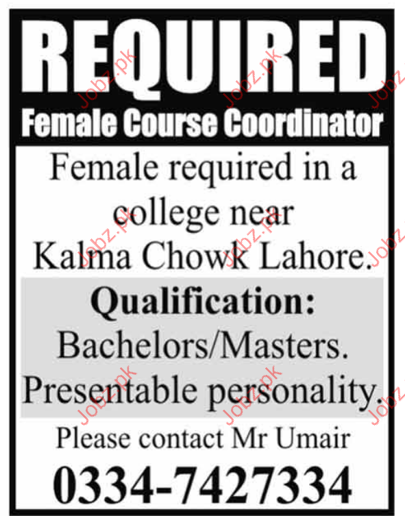 Female Course Coordinator Required