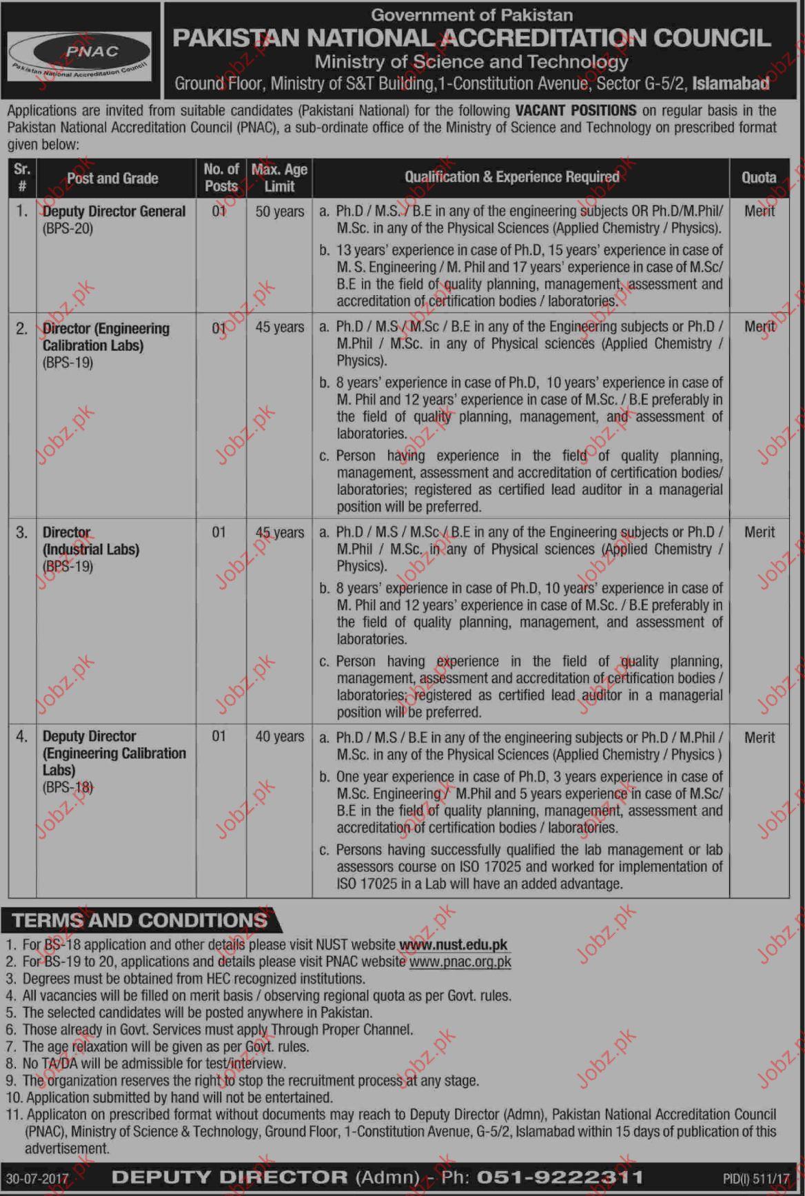 Pakistan National Accreditation Council PNAC Careers