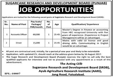 Sugarcane Research & Development Board faisalabad Jobs