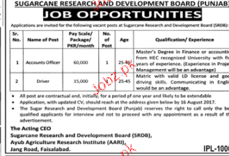 Sugarcane Research and Development Board Jobs