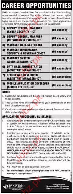 Pakistan International Airlines Corporation Jobs