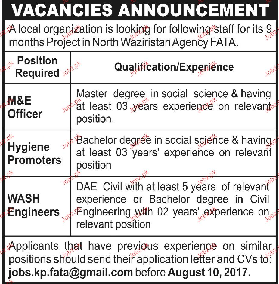 M & E Officers, Hygiene Promoters Job Opportunity