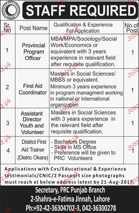 Provincial Program Officers, First Aid Coordinator Wanted