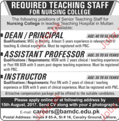 Teaching Staff Required for Nursing College