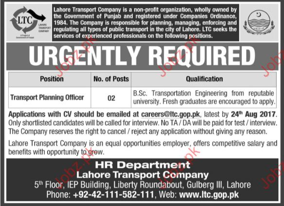 Lahore Transport Company Required Transport Planning Officer