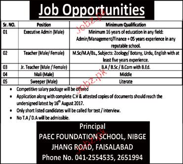 PAEC Foundation School  Jobs