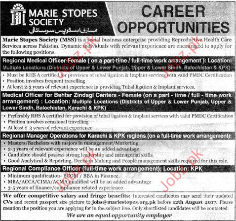 Regional Medical Officer Required for Marie Stopes Society