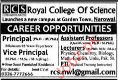 Royal College Of Science Required Principal