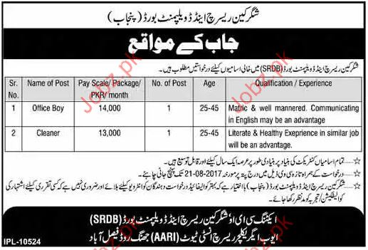 Clerical Jobs In Sugarcane Research & Development Board
