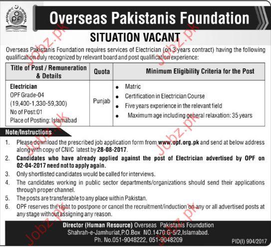 Overseas Pakistanis Foundation OPF jobs