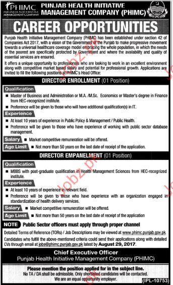 Punjab Health Initiative Management Company Director Jobs
